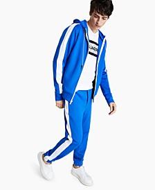 Men's Slim-Fit Stretch Hooded & Striped Track Jacket