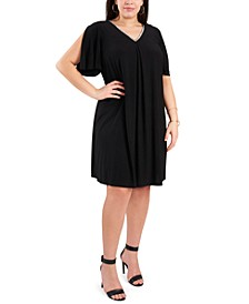 Plus Size Rhinestone Split-Sleeve Dress