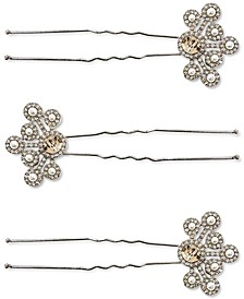 3-Pc. Silver-Tone Crystal & Imitation Pearl Bobby Pin Set, Created for Macy's
