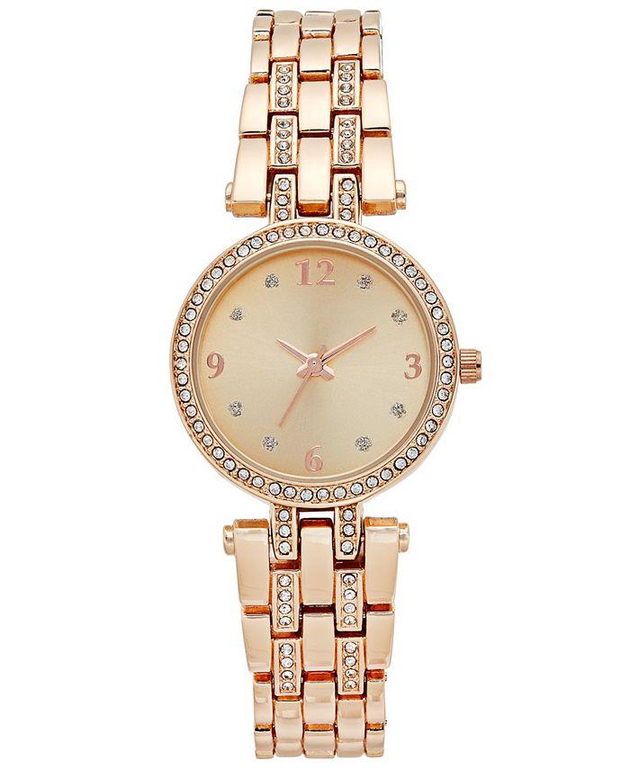 Charter Club - Women's Pavé Rose Gold-Tone Bracelet Watch 28mm