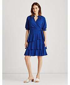 Petite Polka-Dot Crepe Dress