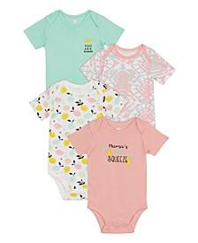 Baby Girls Lemon Bodysuit, 4 Piece Set
