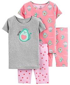 Little Girls Avocado Cotton Pajamas, 4 Pieces