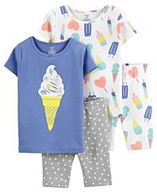 Little Girls Cotton Ice Cream Cotton Pajamas, 4 Pieces