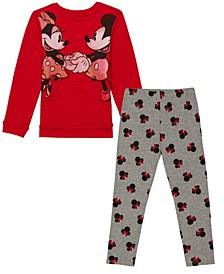Toddler Girls Mickey Minnie Legging and Long Sleeve T-shirt Set, 2 Piece