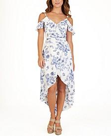 Juniors' Floral-Print High-Low Dress