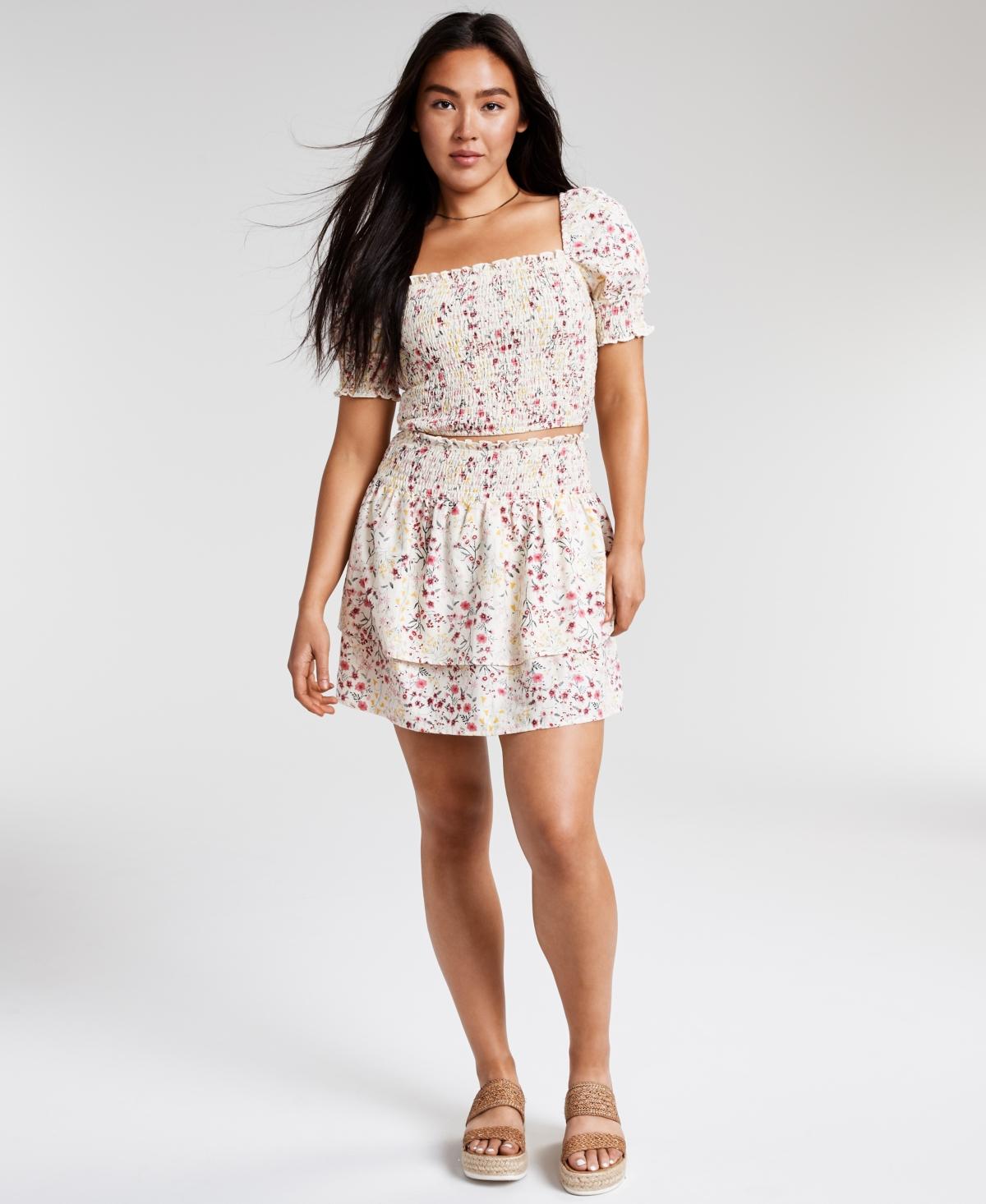 Floral-Print Smocked Skirt