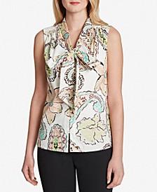 Paisley-Print Tie-Neck Blouse