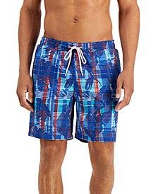 """Men's Regular-Fit Quick-Dry Plaid Leaf-Print 7"""" Board Shorts, Created for Macy's"""