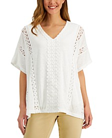 Petite Lace-Inset Top, Created for Macy's