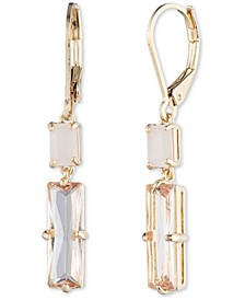 Gold-Tone Double Stone Drop Earrings