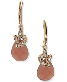 Gold-Tone Pavé Leaf & Stone Drop Earrings