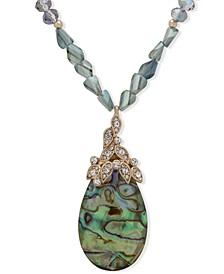"""Gold-Tone Crystal Leaf & Stone Long Beaded Pendant Necklace, 34"""" + 3"""" extender"""