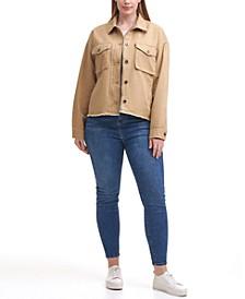 Trendy Plus Size Cropped Cotton Utility Jacket