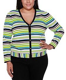 Black Label Plus Size Striped Long Sleeve V-Neck Button Up Cardigan