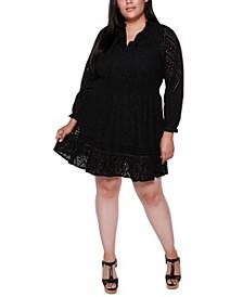 Black Label Plus Size Long Sleeve Eyelet Ruffle Dress