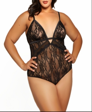 Plus Size Camellia all Over Lace and Fine Mesh Teddy Matching Hardware