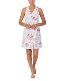Printed Flounce-Hem Nightgown