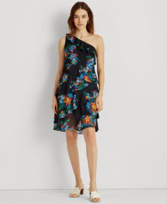 로렌 랄프로렌 Lauren Ralph Lauren Floral Metallic Georgette Dress,Navy Blue Floral