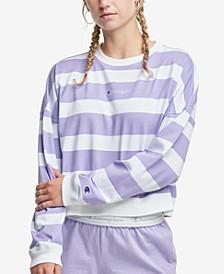 Women's Striped Cropped Cotton Sweatshirt