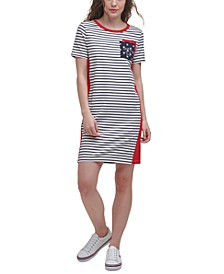 Double-Pocket Striped T-Shirt Dress