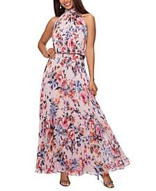 Halter-Neck Floral Gown