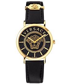 Women's Swiss V Essential Black Leather Strap Watch 36mm