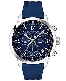 Men's Swiss Chronograph PRC 200 Blue Rubber Strap Watch 43mm