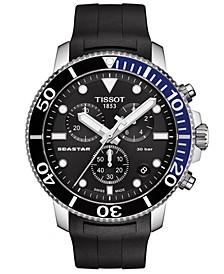 Men's Swiss Chronograph Seastar 1000 Black Rubber Strap Watch 46mm