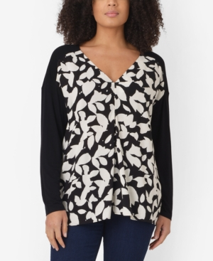 Plus Size Mono Leaf Jersey Back Top