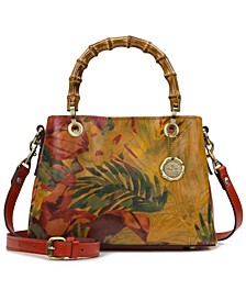 Empoli Leather Satchel With Bamboo-Shaped Handles