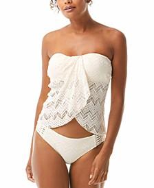 Crochet Draped Bandeau Tankini Top & Crochet Strappy Bikini Bottoms