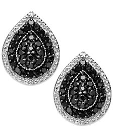 Sterling Silver Black (9/10 ct. t.w.) and White Diamond Accent Stud Earrings