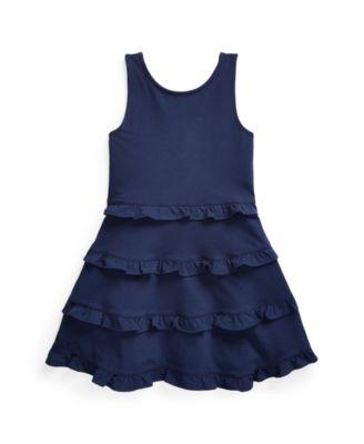 폴로 랄프로렌 Polo Ralph Lauren Little Girls Ruffled Jersey Dress,French Navy