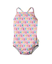 Baby Girls One Piece Ruffle Swimsuit with Built-in Reusable Swim Diaper