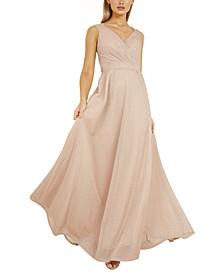V-Neck Glitter Gown