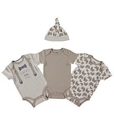 Baby Boys 4-Pc. Printed Cotton Bodysuits & Hat Set