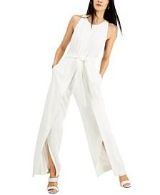 INC Scuba-Crepe Flyaway-Leg Jumpsuit, Created for Macy's