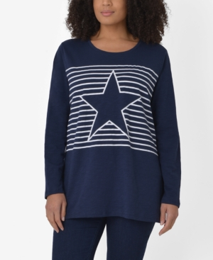 Plus Size Cotton Stripe Star Top