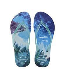 Women's Slim Paisage Flip Flop Sandals