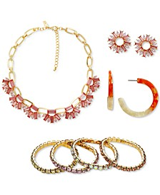 INC Gold-Tone Crystal & Imitation Pearl Flower Jewelry Collection, Created for Macy's