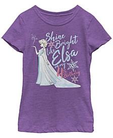 Big Girls Frozen Birthday Queen Four Short Sleeve T-shirt