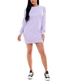 Juniors' Puff-Sleeve Casual Dress