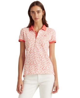 로렌 랄프로렌 Lauren Ralph Lauren Kiewick Striped Polo Shirt,White/hibiscus