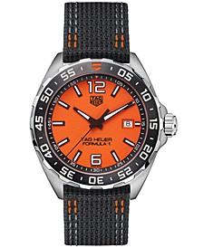 Men's Swiss Formula 1 Black Nylon Strap Watch 43mm