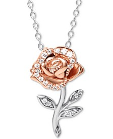 """Cubic Zirconia Rose 18"""" Pendant Necklace in Sterling Silver & 18k Rose Gold-Plate"""