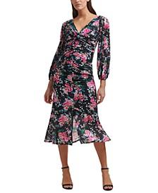Long-Sleeve Floral Midi Dress