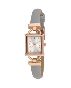 Women's Classy Petite Hinge Square Gray Polyurethane Strap Watch 22mm