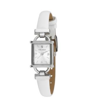 Women's Classy Petite Hinge Square White Polyurethane Strap Watch 22mm