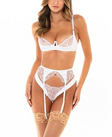 Women's Unlined Bra with Lace Detail and Keyhole Features with Matching Garter Belt and Panty with Back Gather Detailing